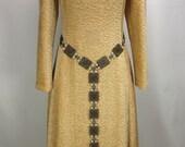 Lady Jacquetta Girdle Belt, square filigree antiqued brass links, pearl & tassel drop, adjustable, Renaissance Medieval, costume (1158ab_)