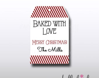 Baked with Love- Printable Gift/Treat Tags - Personalization Optional