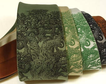 Gnarled Tree Necktie - Men's Tree of Life Tie - Men's Necktie - Father Gift