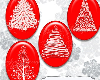 CHRISTMAS OVAL Images Collage Sheet 30mm x 40mm Oval Images Christmas Tree Images, Oval Christmas Images Oval Pendant Supplies RED White