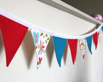 Floral, Red and Blue Bunting
