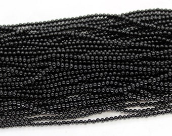 Full Strand 2-2.5mm Black Agate Round Smooth Beads