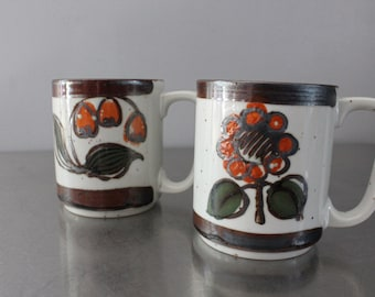 Set of 2 mugs natural colors flowers beverage drinks 1970's Japan rust olive brown speckled glazed sunflower pretty morning smiles gift