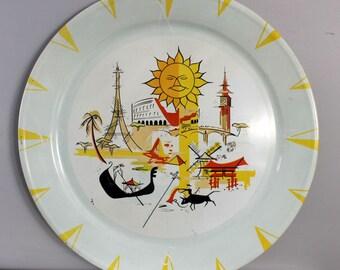 Large round metal tray, world traveler illustrations matador, gondola, big ben, colloseum, windmill, pagoda, eiffel tower, sphinx, pyramid