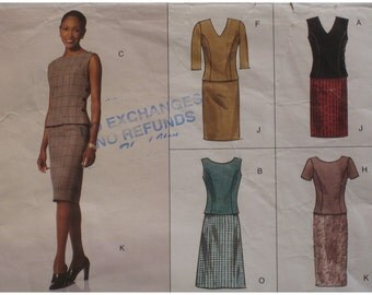 Two Piece Fitted Dress Pattern, Princess Seams, V/Jewel Neck, Sleeves/Sleeveless Vogue No. 2218 UNCUT Size 6 8 10