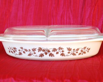 Vintage 963 Pyrex Gold Acorn Divided Serving Dish Golden Acorn Cinderella Oval Divided Serving Dish
