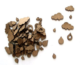 Rainy Day Confetti - Miniature Chipboard Embellishments for scrapbooking, card making, altered art, mixed media, tags, canvases and more.