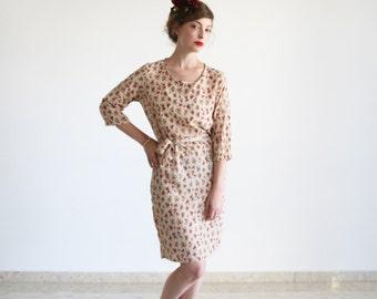Clearance SALE/ Floral bridesmad dress / Size 6US/ Cream Knee Length Dress / Midi Dress / Tie Belt Dress / Casual Dress / Party Dress