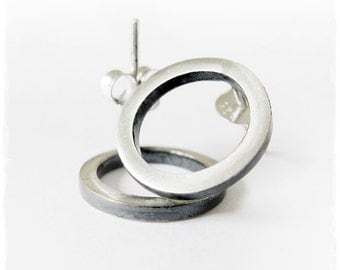 Open Circle Studs in Sterling Silver and Oxidized Silver. Simple Modern Minimalist Stud Earrings.