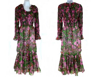 Boho Maxi Floral Dress, Sheer Smocked with Ruffles, Vintage 1960s Size XS to Small