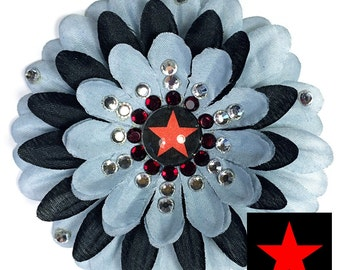 Winter Soldier Gray and Black Penny Blossom Sparkly Flower Barrette