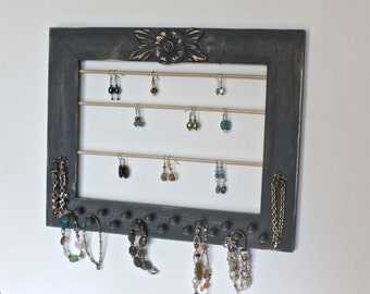 Earring and Jewelry Organizer Wall Display Wood Frame Holder in a dark Grey.