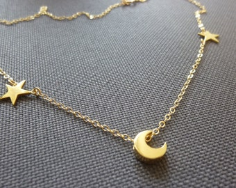 moon and star necklace, star and moon necklace,crescent moon and star necklace-star necklace-Personalized moon and star necklace-Momentusny