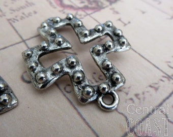 Beaded Maltese Open Cut Out Ancient Cross Charm Pendant Bracelet Connector - Antique Silver Pewter - 27mm x 27mm - Central Coast Charms
