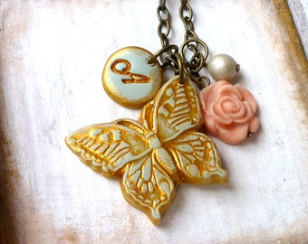 Big Butterfly and Letter Necklace - Personalized Jewelry - Nature inspired Gifts - Christmas Gift