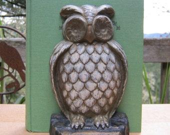Owl Bookend - Large Heavy Size - Oak Hill Vintage