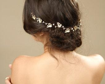 Gold Leafs Wedding Hair Wreath, Golden Leaf Crown, Greek Goddess Headband, bridal hair accessories, Gold Leaf Tiara, Leaf Halo,