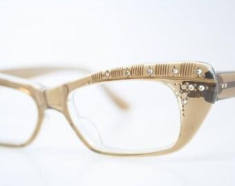 Unused Brownsmoke  Rhinestone cat eye glasses vintage cateye eyeglasses frames