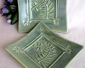Dragonfly & Fern Square Plates (set of 2)  #fern  #dragonfly  #plates