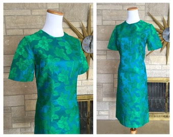 1960s Satin Brocade Dress * Blue & Green * Vintage Holiday Party Frock * Women's Size Small