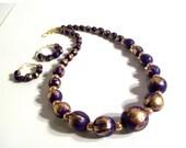 Purple Wood Necklace, Pretty Purple Gold Wood & Pearl Necklace Set, 2 Piece Set, Wood Jewelry,