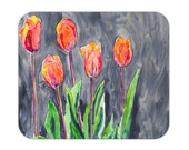 Mousepad - Orange Tulips Painting - Art for Home or Office