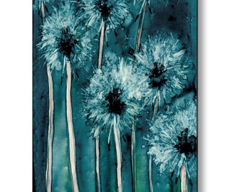 Dandelion Floral Birchwood or Metal Art Print - Home Decor