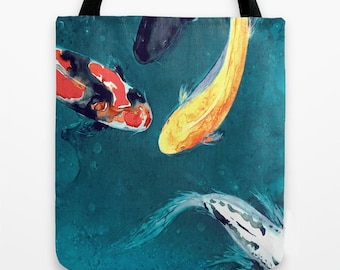 Art Tote Bag - Koi Watercolor Painting - Shoulder Beach Shopping Bag