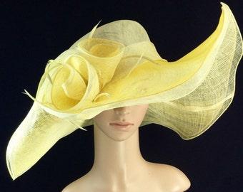 Yellow Kentucky Derby Hat ,Derby Hat,Dress Hat Wedding Hat Wide Brim Hat Tea Party Hat Ascot