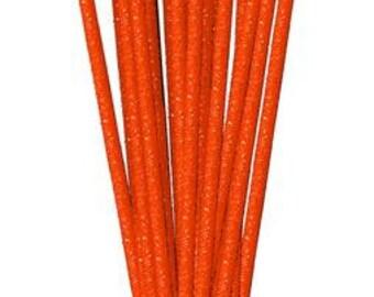 Orange Glitzy Sticks RS500220, Wreath Decor, Mesh Supplies, Poly Mesh Supplies, Mesh Ribbon (24 STICKS)
