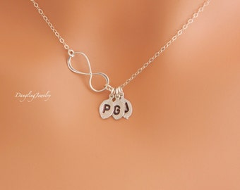 Custom THREE Initial Necklace, Infinity Charm Necklace, Sister Necklace, Mother Necklace with Children Initial, Charm Necklace, Best Friend
