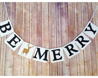 be merry banner, deer banner, be merry reindeer banner, christmas banner