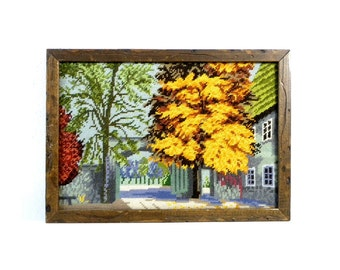 Vintage Needlepoint Colonial House/Country House in Autumn Picture