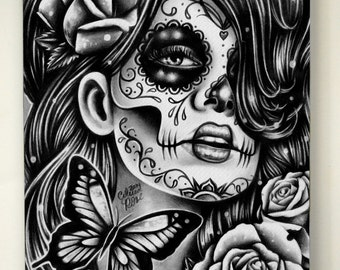 8x10 in Stretched Canvas Print - Epiphany - Black and White Day of the Dead Sugar Skull Girl