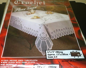 1/2 Price - Vinyl & Lace Table Cloth - 54 x 72 - Never Used Still In Package - Read Below