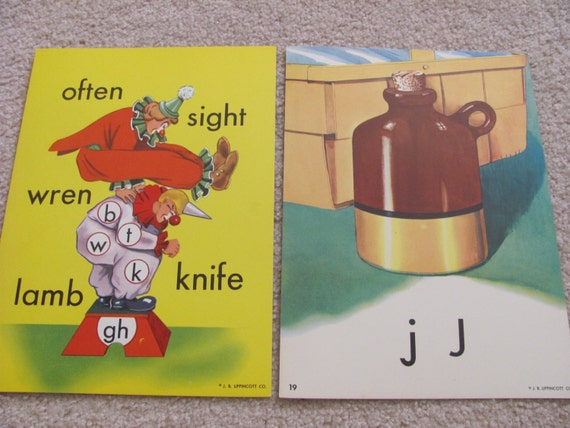 Large Colorful School Flash Card Poster Circa 1950s - Choice of Jug or Clowns