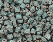 Casting-6mm Flat Square Ornament Beads-Green Patina-Quantity 10