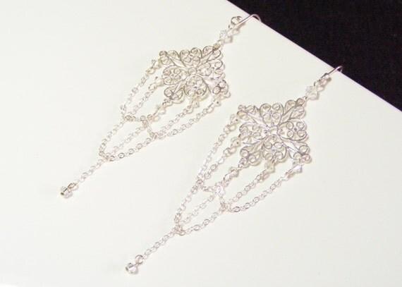 Filigree earrings, crystal and chain earings, sterling silver wedding chandelier earrings, chandelier earings, bridal earring