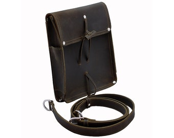 Leather Writer's Bag, Satchel for iPad, EDC, Purse - Rich Chocolate Brown