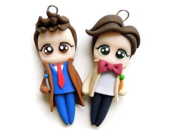 10th and 11th Doctors - Miniature Sculpture - Charm Figurine