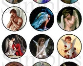 "1"" Inch Angels, Romantic, Guardian Angel Pins, Magnets, Flat Back Buttons, 12 Ct.,"