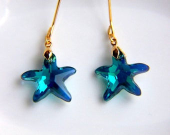 Starfish Earrings: Gold plated brass earring hooks, blue star swarovski crystal, earrings hooks gift for valentine's mother's day, dangle