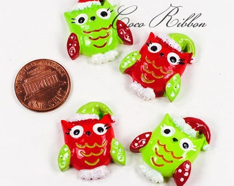 27mm 12 Pieces Christmas Santa Owl Flatback Resin Cabochons