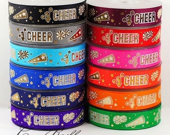 10/25 yards 7/8 22mm Sparkle Gold Cheerleader Cheer Spirit Grosgrain Ribbon - 12 Colors