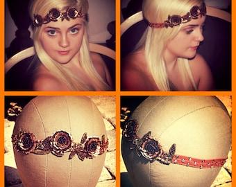 Rose Gold Copper Brown Flower Boho Crystal Headband Dancer Hair accessory