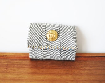 CLEARANCE-- Grey and White Herringbone Trifold Business Card or Credit Card Holder with Gold Button and Multi-Colored Interior