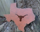 Longhorns, Texas State Shaped Wood Sign, Texas Longhorns