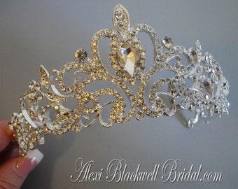 Bridal Tiara Crown headpiece stunning crystal rhinestone in silver tone metal solid good quality beautiful alone or with a veil wedding gift