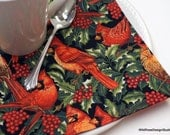 Christmas Cardinals Cloth Napkins // With Holly and Poinsettias // Set of 4