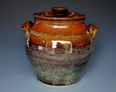 Dark Burnt Umber Lidded Ceramic Pottery Jar  A